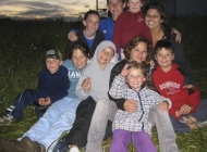 A happy gaggle of kids <BR>in Miss Marilyn's Meadow on a summer evening (Summer 2008)